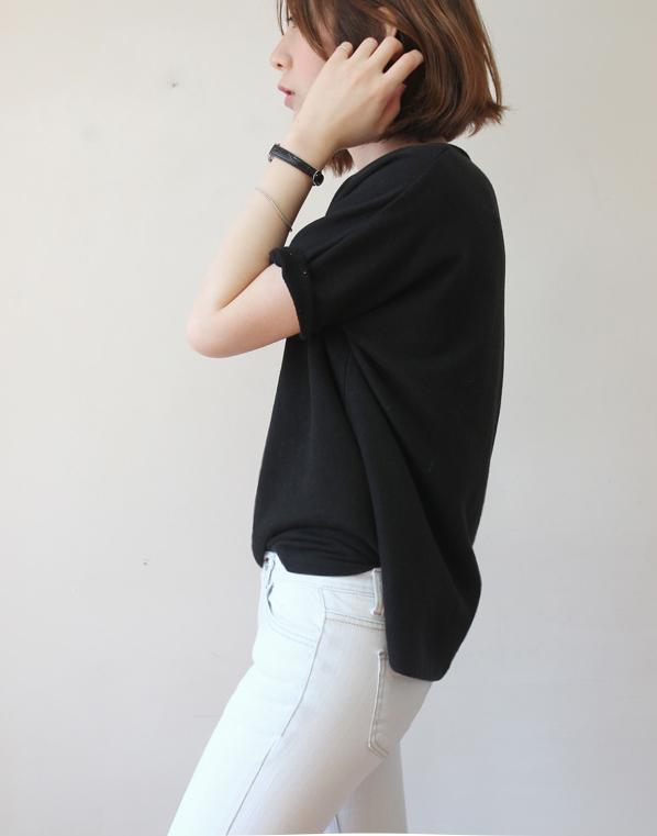 летний базовый гардероб, черная футболка
