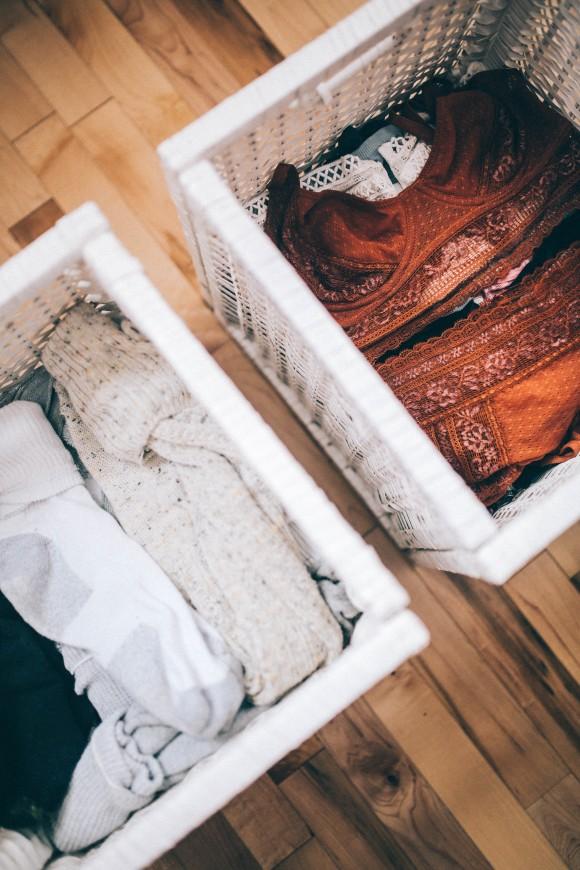 порядок в шкафу, хранение белья
