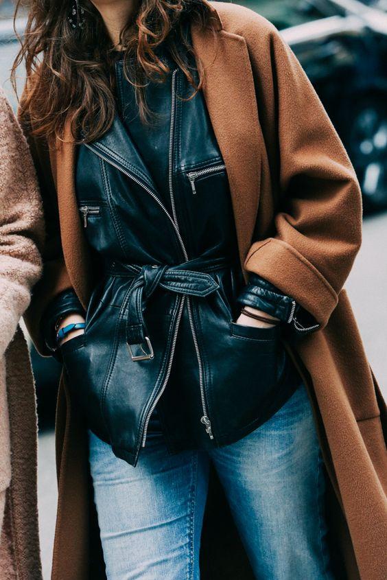 Слоеные образы, слои в одежде, кожаная куртка под пальто