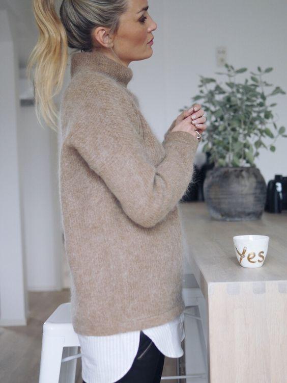 Слоеные образы, слои в одежде, большой свитер на рубашку
